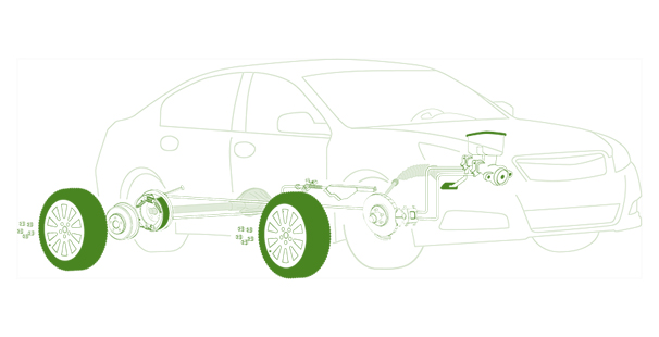 image of a vehicle showing how the braking system works - Brakes Nottingham